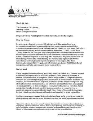 Primary view of object titled 'Federal Funding for Selected Surveillance Technologies'.