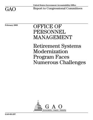 Primary view of object titled 'Office of Personnel Management: Retirement Systems Modernization Program Faces Numerous Challenges'.