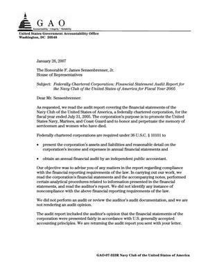 Primary view of object titled 'Federally Chartered Corporation: Financial Statement Audit Report for the Navy Club of the United States of America for Fiscal Year 2005'.