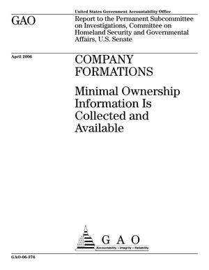 Primary view of object titled 'Company Formations: Minimal Ownership Information Is Collected and Available'.