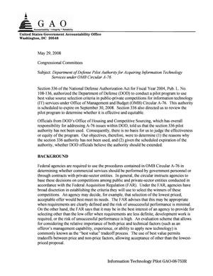 Primary view of object titled 'Department of Defense Pilot Authority for Acquiring Information Technology Services under OMB Circular A-76'.