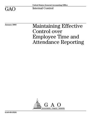 Primary view of object titled 'Maintaining Effective Control over Employee Time and Attendance Reporting'.