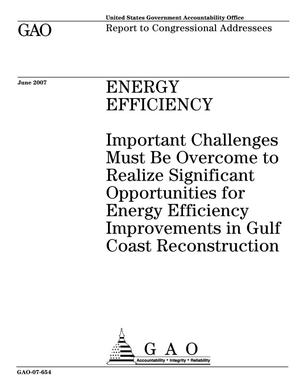 Primary view of object titled 'Energy Efficiency: Important Challenges Must Be Overcome to Realize Significant Opportunities for Energy Efficiency Improvements in Gulf Coast Reconstruction'.