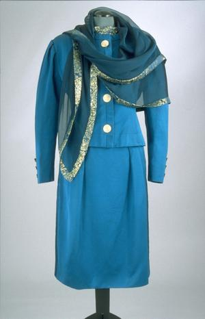 Primary view of object titled 'Ensemble - Jacket, Skirt, Blouse and Scarf'.