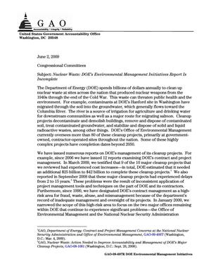 Primary view of object titled 'Nuclear Waste: DOE's Environmental Management Initiatives Report Is Incomplete'.
