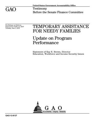 Primary view of object titled 'Temporary Assistance for Needy Families: Update on Program Performance'.