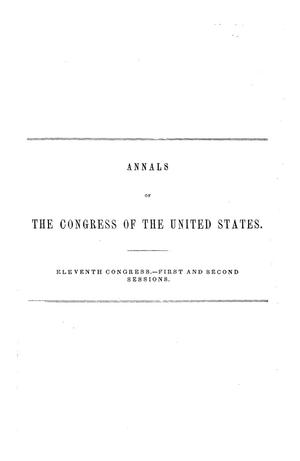 The Debates and Proceedings in the Congress of the United States, Eleventh Congress, First and Second Sessions, [Volume 2]