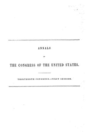 The Debates and Proceedings in the Congress of the United States, Thirteenth Congress, First Session