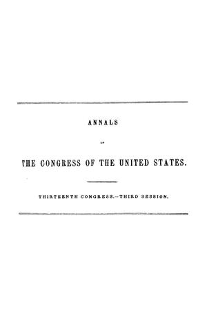 Primary view of object titled 'The Debates and Proceedings in the Congress of the United States, Thirteenth Congress, Third Session'.