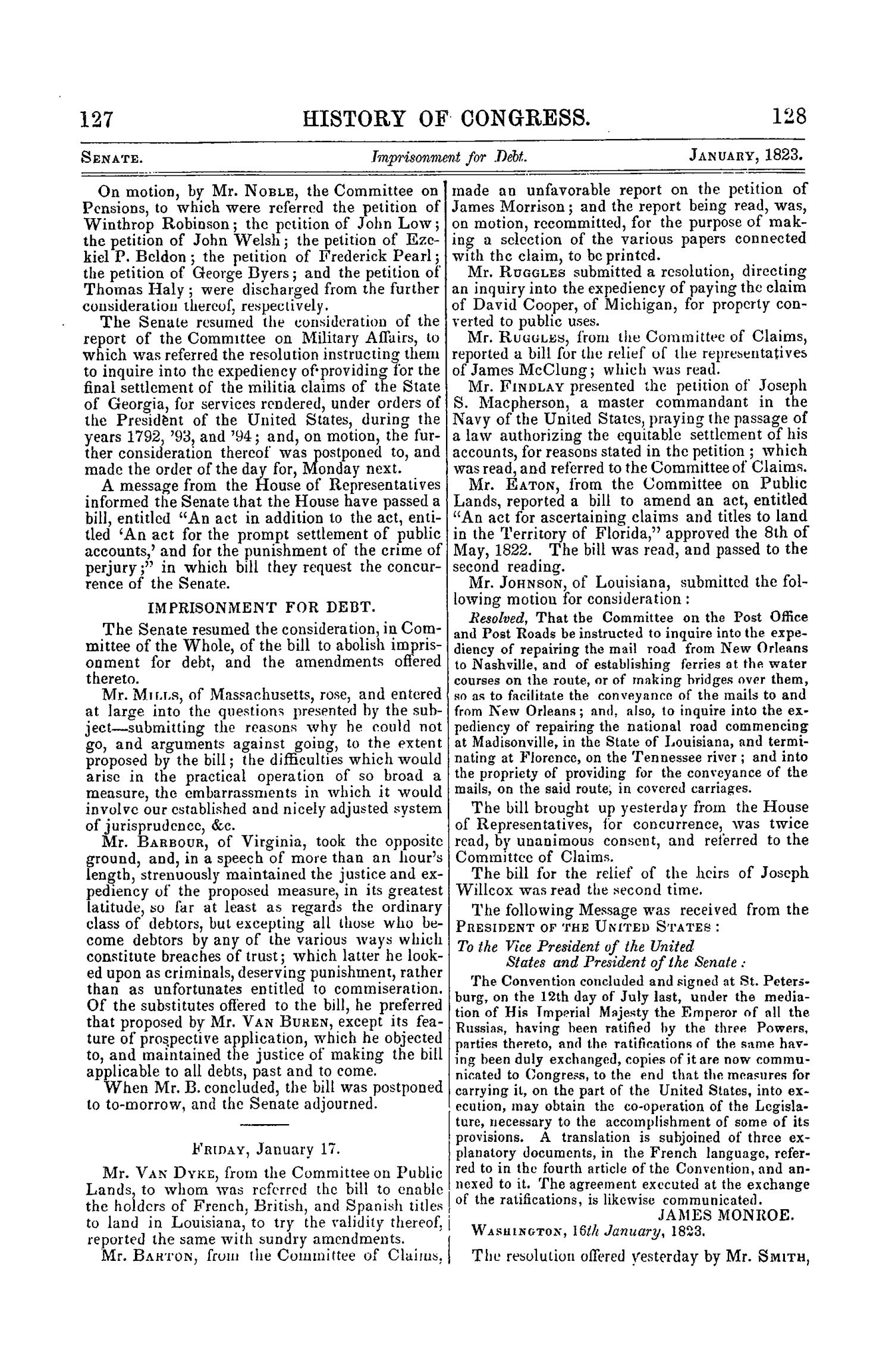 The Debates and Proceedings in the Congress of the United States, Seventeenth Congress, Second Session                                                                                                      127