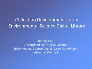 Primary view of object titled 'Collection Development for an Environmental Science Digital Library'.