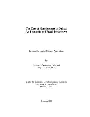 Primary view of object titled 'The Cost of Homelessness in Dallas: An Economic and Fiscal Perspective'.