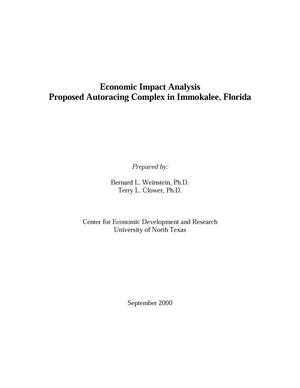 Primary view of object titled 'Economic Impact Analysis: Proposed Autoracing Complex in Immokalee, Florida'.