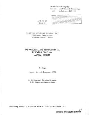 Primary view of object titled 'Radiological and Environmental Research Division Annual Report: Part 3, Ecology, January-December 1978'.