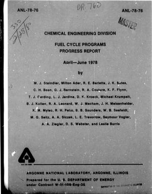 Primary view of object titled 'Chemical Engineering Division Fuel Cycle Programs Progress Report: April-June 1978'.