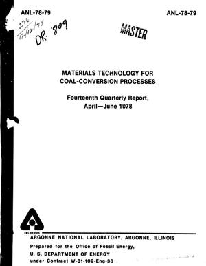 Primary view of object titled 'Materials Technology for Coal-Conversion Processes Quarterly Report: April-June 1978'.