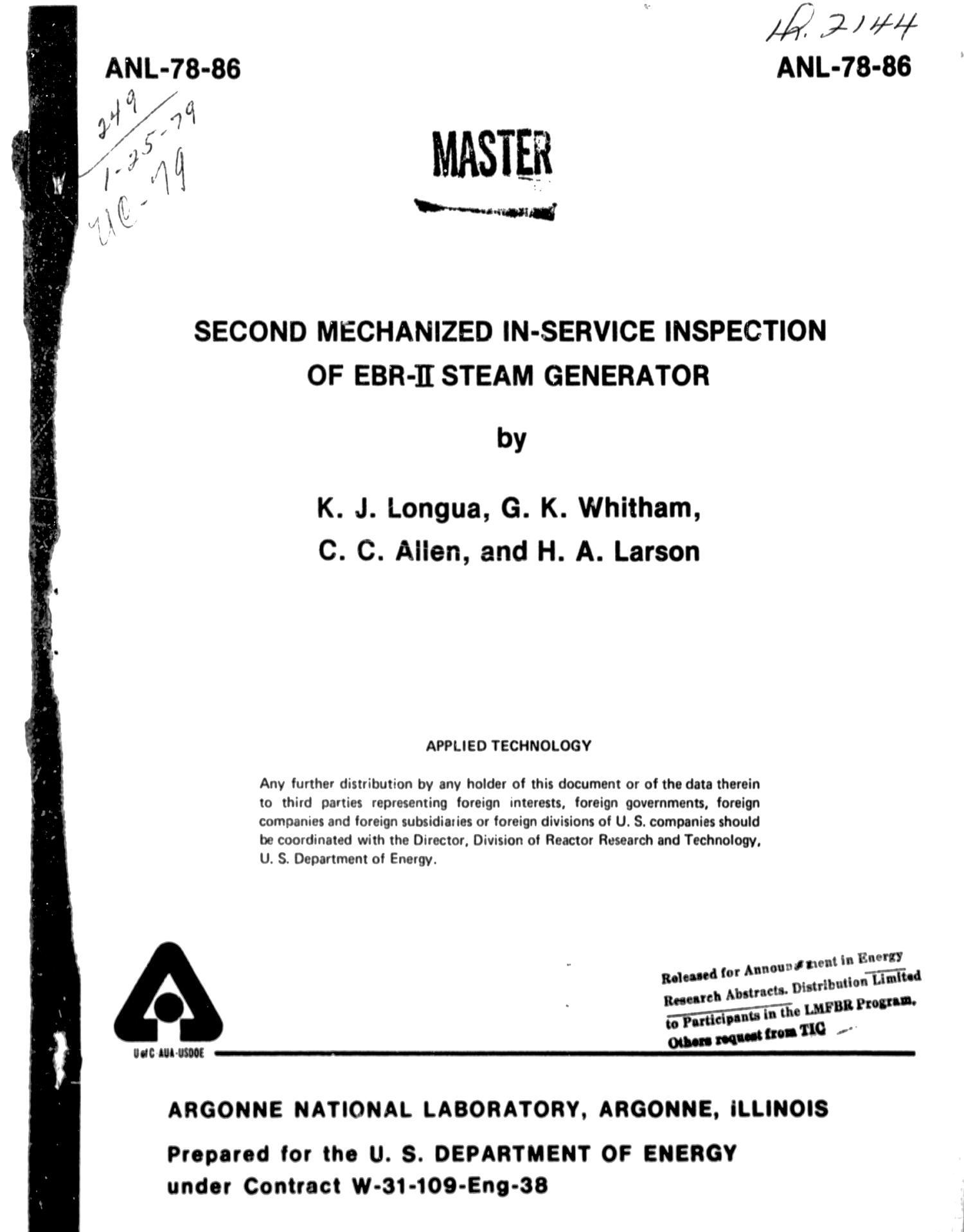 Second Mechanized In Service Inspection of EBR 2 Steam Generator