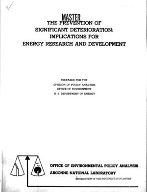 Primary view of object titled 'Prevention of Significant Deterioration: Implications for Energy Research and Development'.