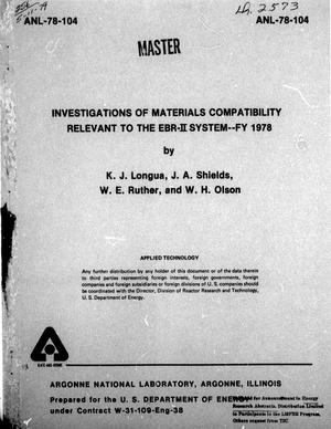Primary view of object titled 'Investigations of Materials Compatibility Relevant to the EBR-2 System : FY 1978'.