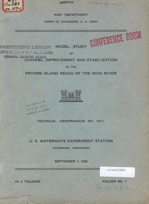 Primary view of object titled 'Model Study of Channel Improvement and Stabilization in the Pryors Island Reach of the Ohio River'.