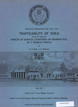 Primary view of object titled 'Trafficability of Soils: Effects of Surface Conditions on Drawbar Pull of a Wheeled Vehicle'.