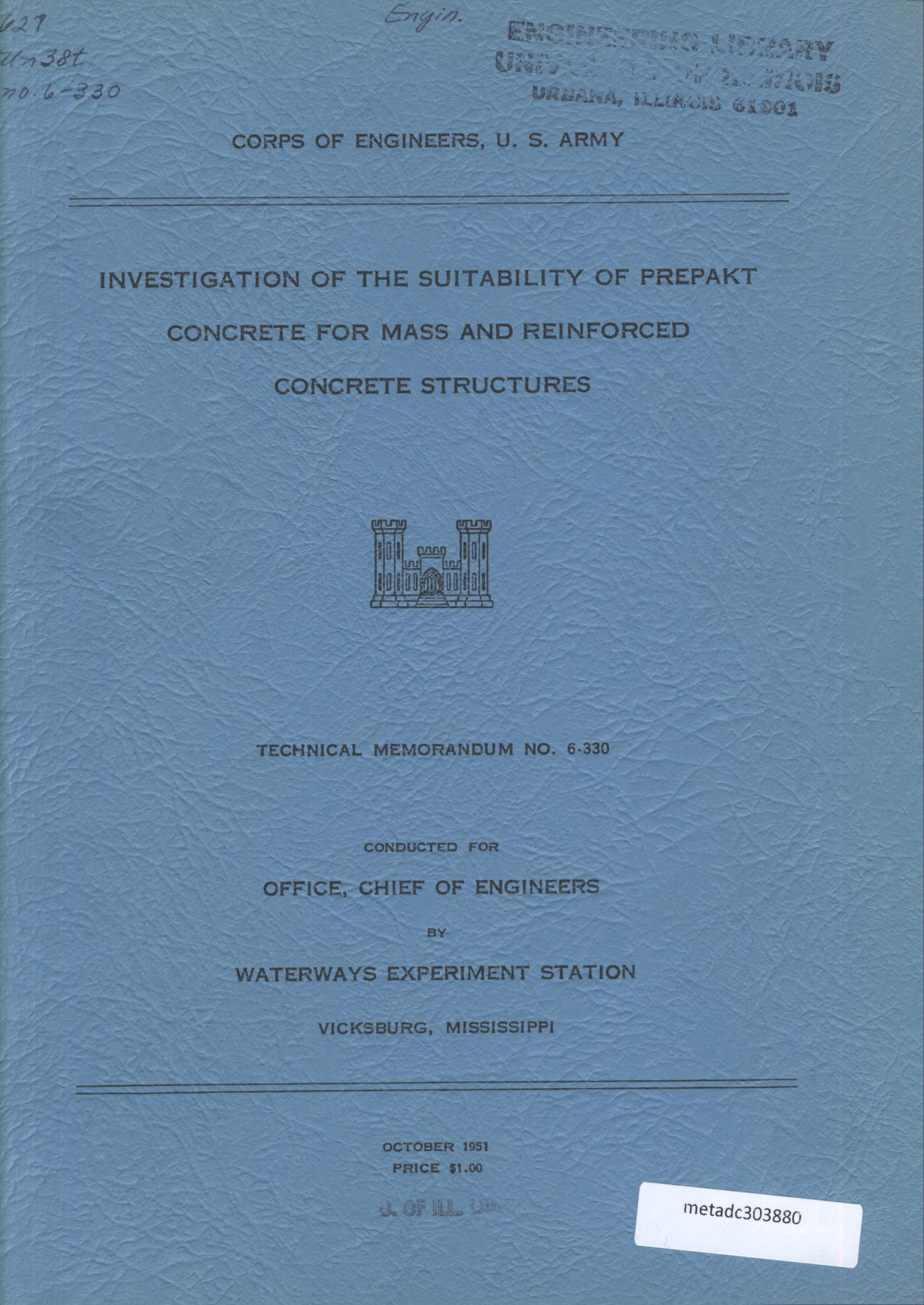 Investigation of the Suitability of Prepakt Concrete for Mass and Reinforced Concrete Structures                                                                                                      [Sequence #]: 1 of 188