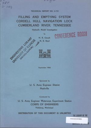 Primary view of object titled 'Filling and Emptying System, Cordell Hull Navigation Lock: Cumberland River, Tennessee: Hydraulic Model Investigation'.