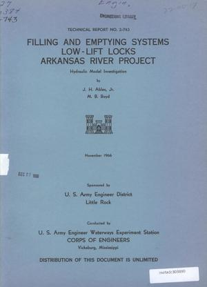 Primary view of object titled 'Filling and Emptying Systems, Low-Lift Locks, Arkansas River Project: Hydraulic Model Investigation'.