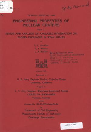 Primary view of object titled 'Engineering Properties of Nuclear Craters, Report 3: Review and Analysis of Available Information on Slopes Excavated in Weak Shales'.