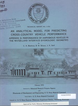 Primary view of object titled 'An Analytical Model for Predicting Cross-Country Vehicle Performance, Appendix D: Performance of Amphibious Vehicles in the Water-Land Interface (Hydrologic Geometry)'.