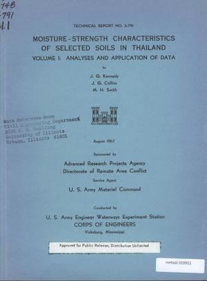 Primary view of object titled 'Moisture-Strength Characteristics of Selected Soils in Thailand, Volume 1: Analysis and Application of Data'.
