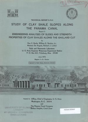 Primary view of object titled 'Study of Clay Shale Slopes Along the Panama Canal, Report 3: Engineering Analyses of Slides and Strength Properties of Clay Shales Along the Gaillard Cut'.