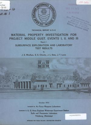Primary view of object titled 'Material Property Investigation for Project Middle Gust, Events 1, 2, and 4: Report 1, Subsurface Exploration and Laboratory Test Results'.