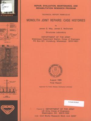 Primary view of object titled 'Monolith Joint Repairs: Case Histories'.