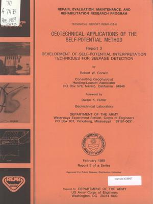 Primary view of object titled 'Geotechnical Applications of the Self-Potential Method, Report 3: Development of Self-Potential Interpretation Techniques for Seepage Detection'.