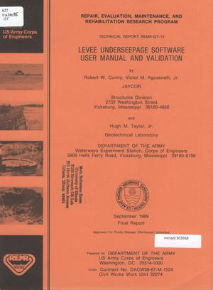 Primary view of object titled 'Levee Underseepage Software: User Manual and Validation'.