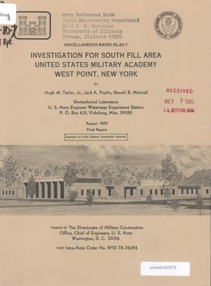 Primary view of object titled 'Investigation for South Fill Area, United States Military Academy, West Point, New York'.