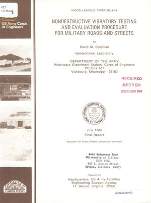 Primary view of object titled 'Nondestructive Vibratory Testing and Evaluation Procedure for Military Roads and Streets'.