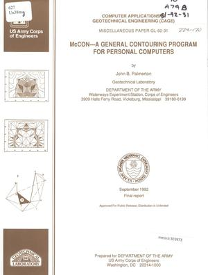 Primary view of object titled 'McCON: a General Contouring Program for Personal Computers'.