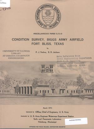 Primary view of object titled 'Condition Survey: Biggs Army Airfield, Fort Bliss, Texas'.