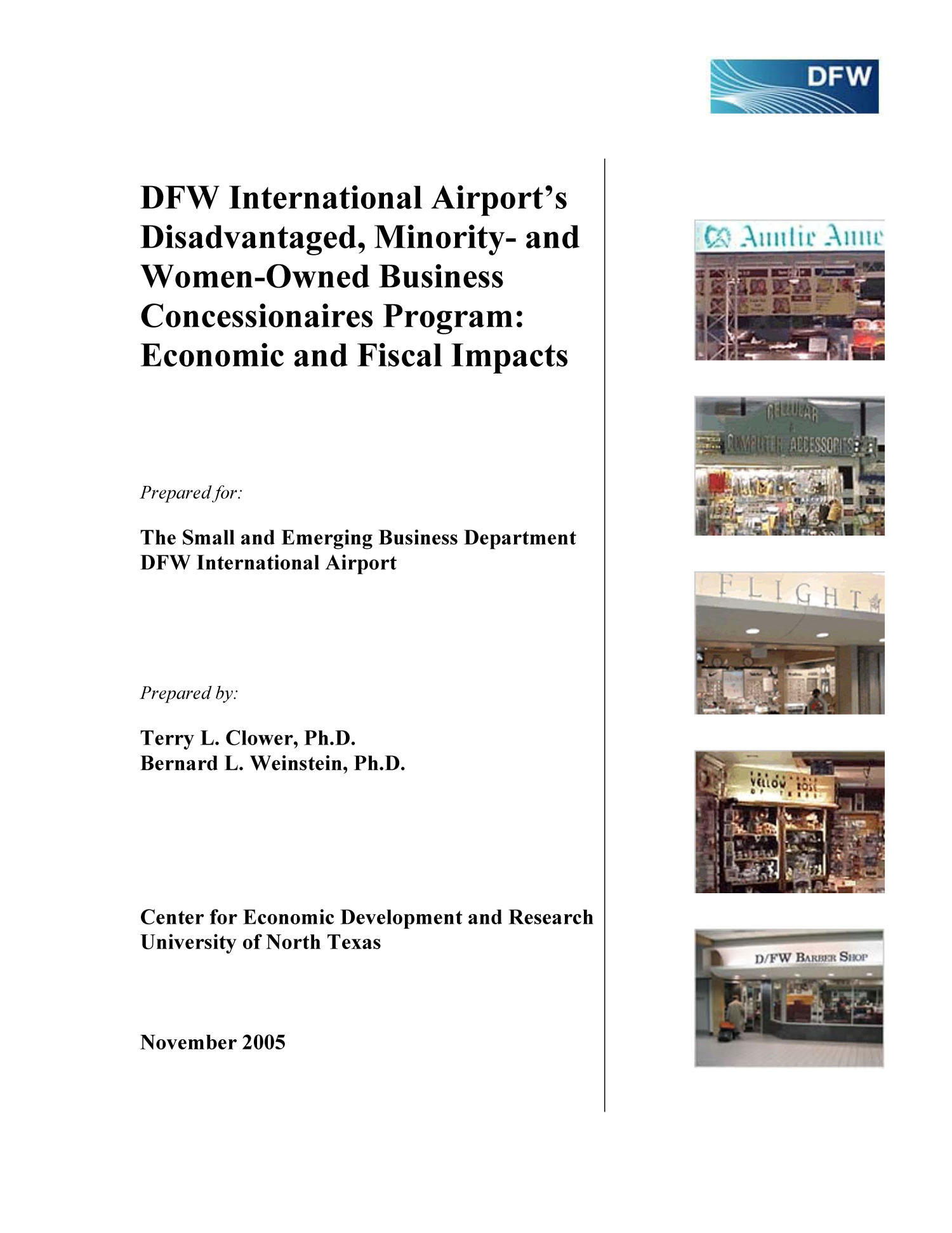 DFW International Airport's Disadvantaged, Minority- and Women-Owned Business Concessionaires Program: Economic and Fiscal Impacts                                                                                                      Front Cover