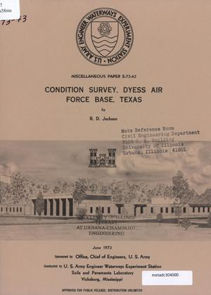 Primary view of object titled 'Condition Survey: Dyess Air Force Base, Texas'.