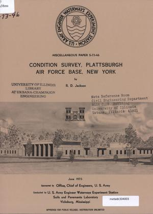 Primary view of object titled 'Condition Survey: Plattsburgh Air Force Base, New York'.