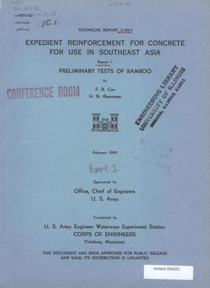 Primary view of object titled 'Expedient Reinforcement of Concrete for Use in Southeast Asia: Report 1: Preliminary Tests of Bamboo'.