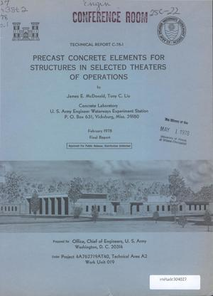 Primary view of object titled 'Precast Concrete Elements for Structures in Selected Theaters of Operations'.