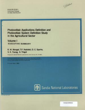 Primary view of object titled 'Photovoltaic Applications Definition and Photovoltaic System Definition Study in the Agricultural Sector: Volume 1, Executive Summary'.