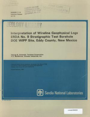 Primary view of object titled 'Interpretation of Wireline Geophysical Logs : ERDA No.9 Stratigraphic Test Borehole DOE WIPP Site, Eddy County, New Mexico'.