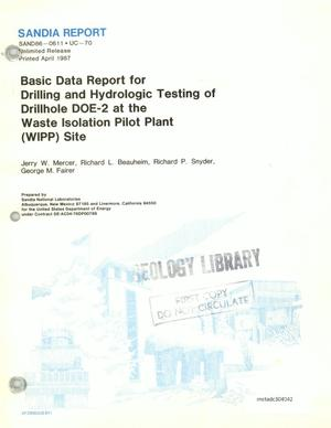 Primary view of object titled 'Basic Data Report for Drilling and Hydrologic Testing of Drillhole DOE-2 at the Waste Isolation Pilot Plant (WIPP) Site'.