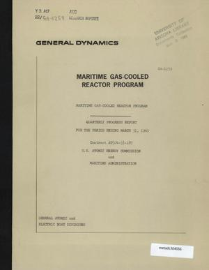 Primary view of object titled 'Maritime Gas-Cooled Reactor Program, Quarterly Progress Report: January-March 1960'.