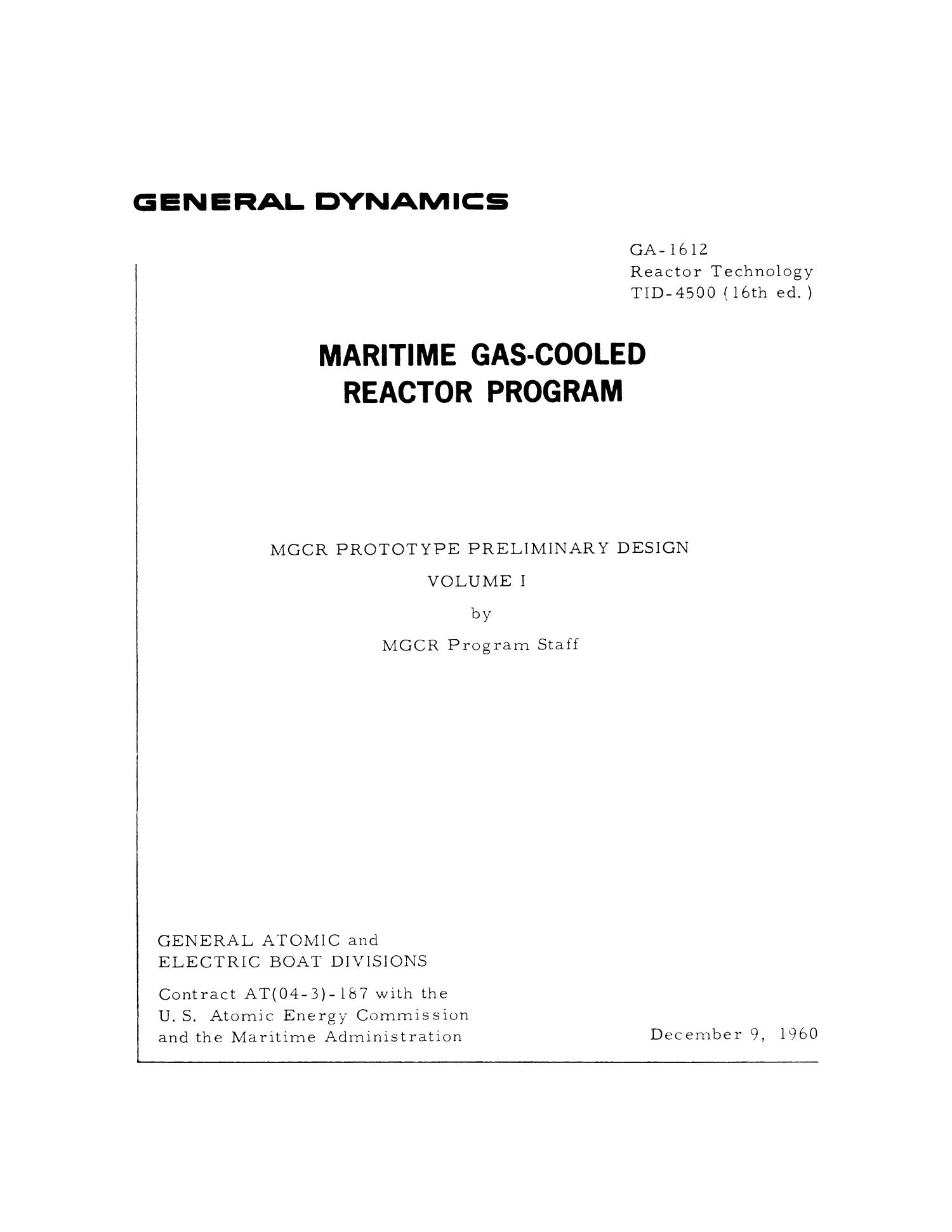 Maritime Gas-Cooled Reactor Program: MGCR Prototype Preliminary Design, Volume 1                                                                                                      Title Page